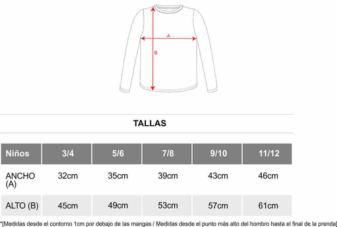 76bec8bc53 Guía de tallas para Camiseta Manga Larga Roly Pointer