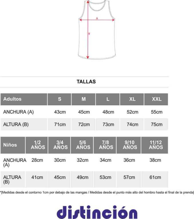 a1d9dfa78 Guía de tallas para Camiseta de tirantes de hombre Roly Texas